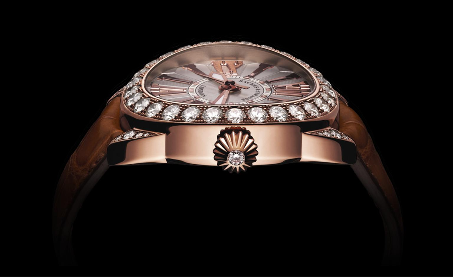 Backes & Strauss. The Piccadilly 40. Rose gold and diamonds. Tan alligator skin strap. Price from £64,290.00