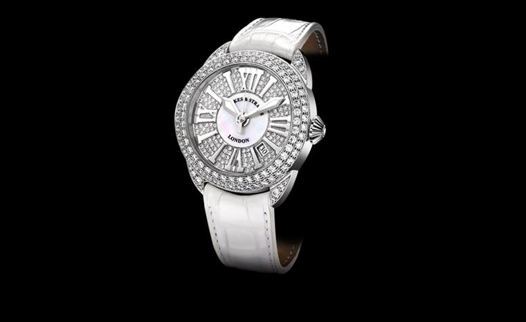 Backes & Strauss. The Piccadilly Diamond Dial 40 in white gold,  diamonds and Mother-of-Pearl. White alligator skin strap. Price from £34,290.00.