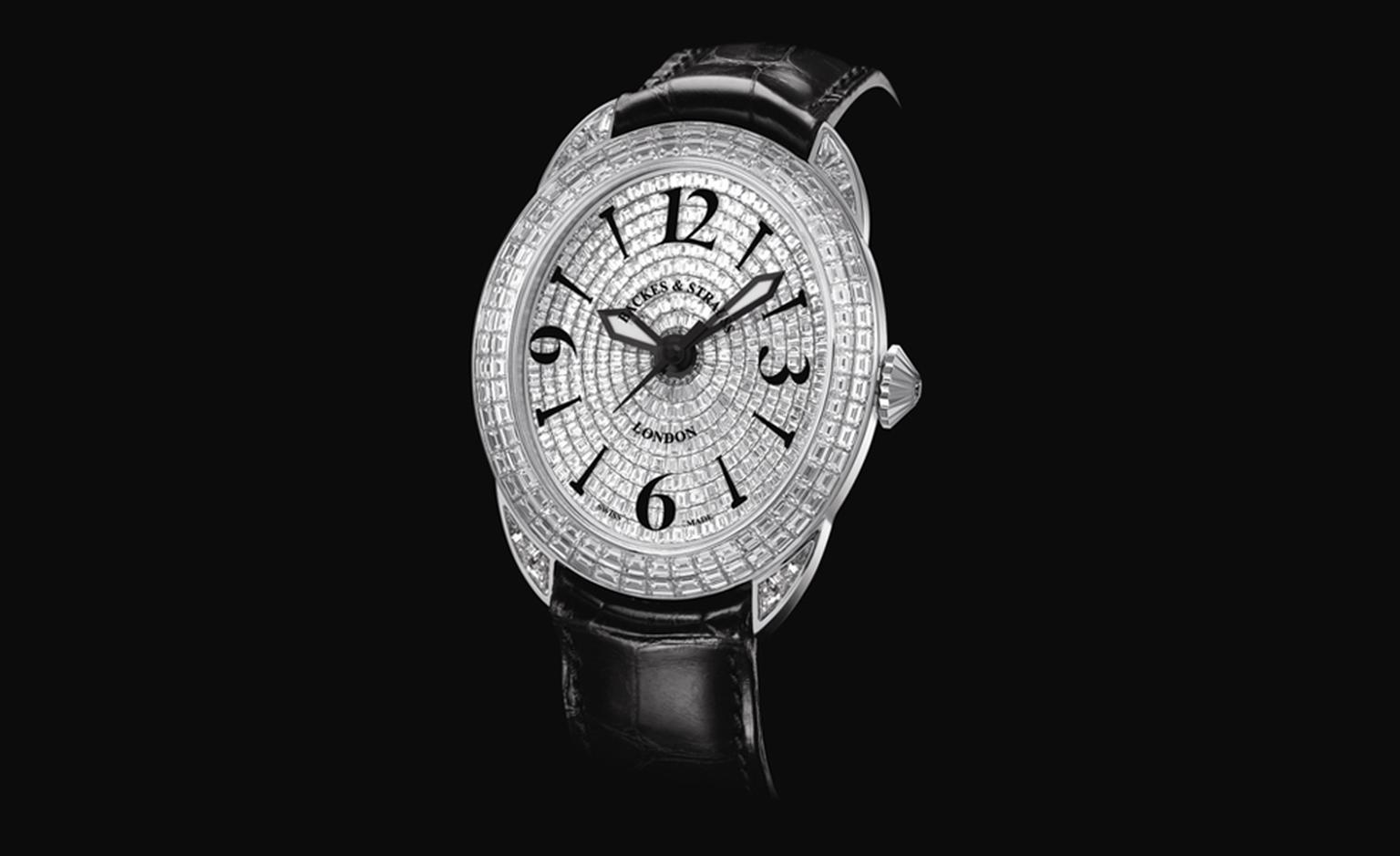 Backes & Strauss. The Prince Regent 4452 from The Royal Collection, one of the three Princes, a Limited Edition handcrafted bespoke masterpiece. Black alligator strap. Diamonds and white gold. Diamonds all individually cut and polished. Price fr...