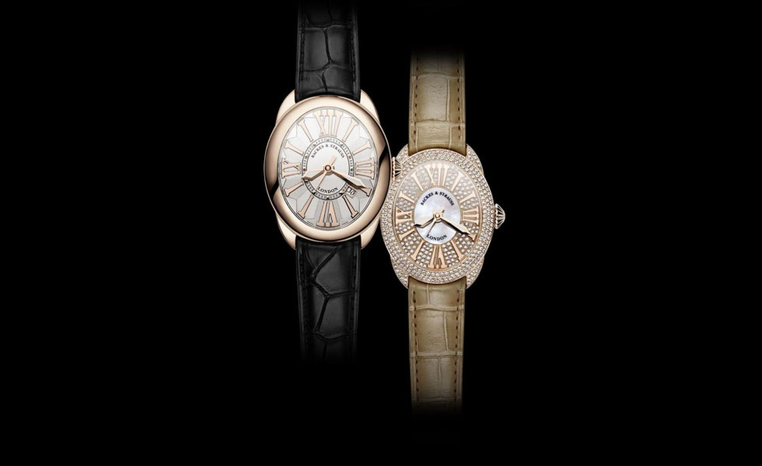 Backes & Strauss. Left: The Regent Classic 4047, The Jewel in the Crown is the only diamond on the Classic, black alligator skin strap. Price from £15,860.00. Right: The Regent Diamond Dial 3643 with  diamonds and mother of pearl. Price from £30...