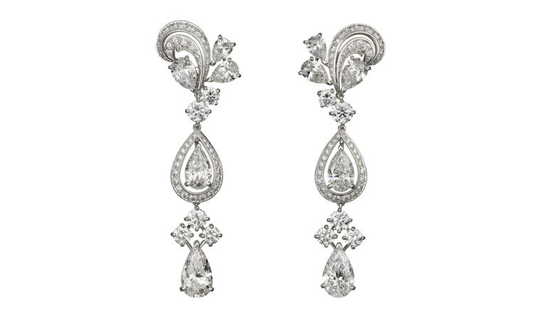 Cartier platinum and diamond pendant earrings by Cartier used in the filming of W.E.