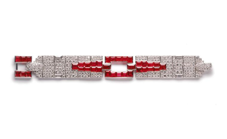 1929 Cartier New York diamond and ruby bracelet made as a special commission and now worn by Madonna at the Venice Film Festival and on the set of W.E. by actress Andrea Riseborough playing Wallis Simpson.