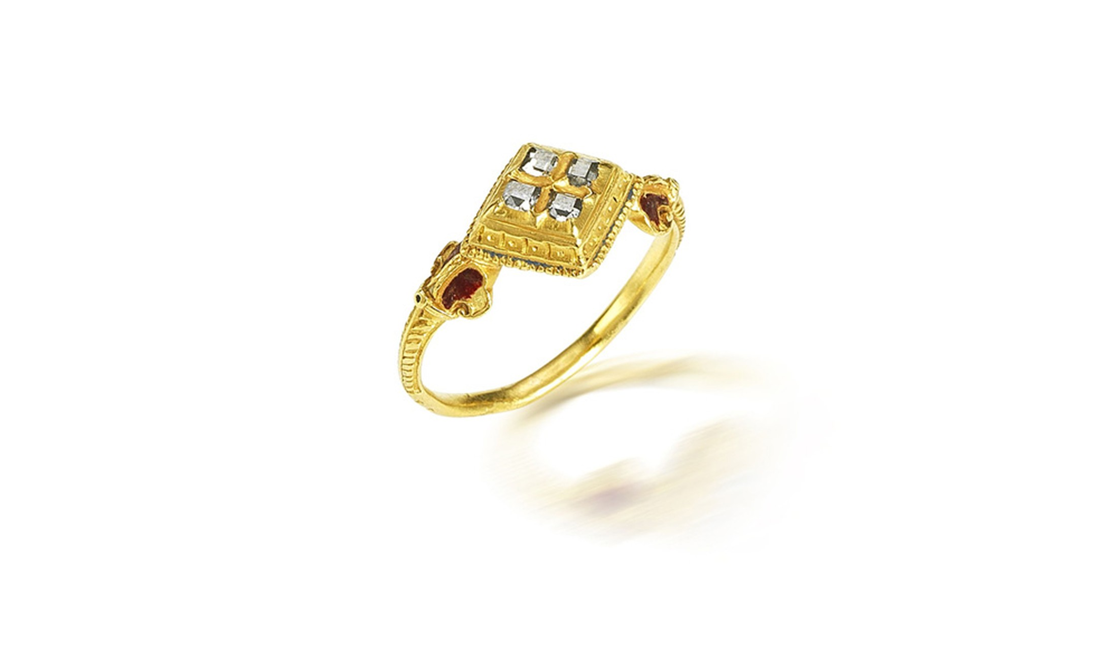 Lot 21. A gold and diamond ring, probably 17th century. Estimate £4,000-6,000. SOLD FOR £8,750.