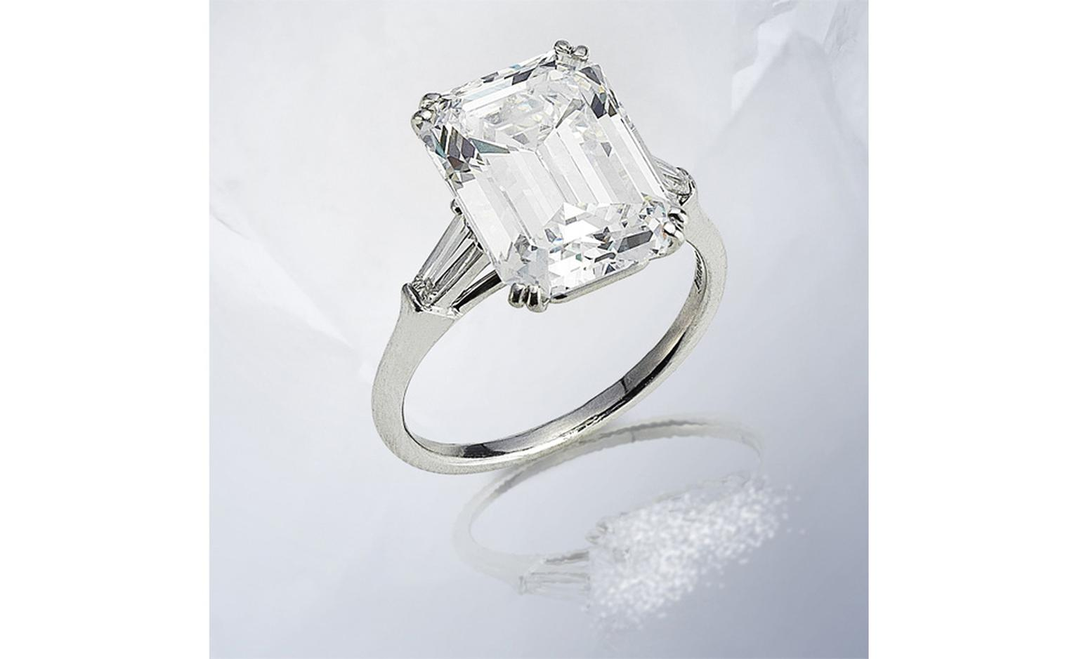 Lot 198. 198 A diamond single-stone ring, by Harry Winston. Estimate £120,000-150,000.  SOLD FOR £265,250.