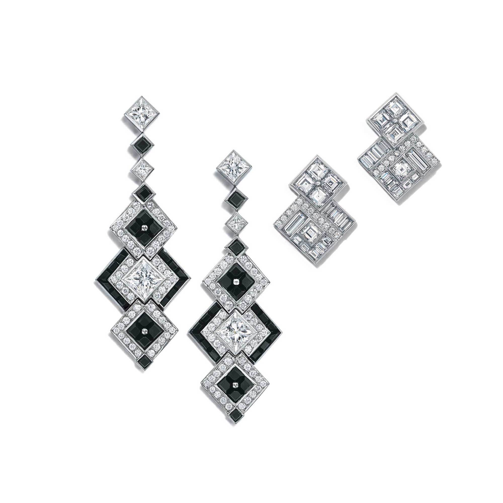 Tiffany Masterpieces onyx and diamond earrings