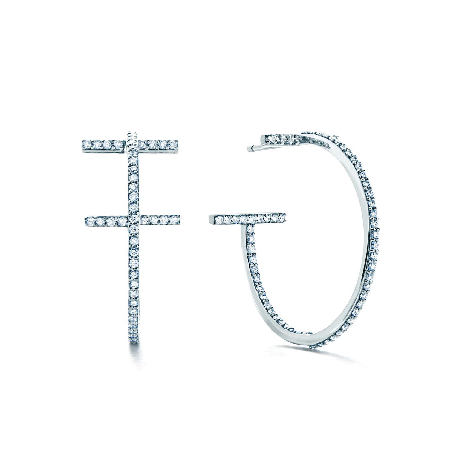 Tiffany T gold and diamond hoop earrings Tiffany & Co