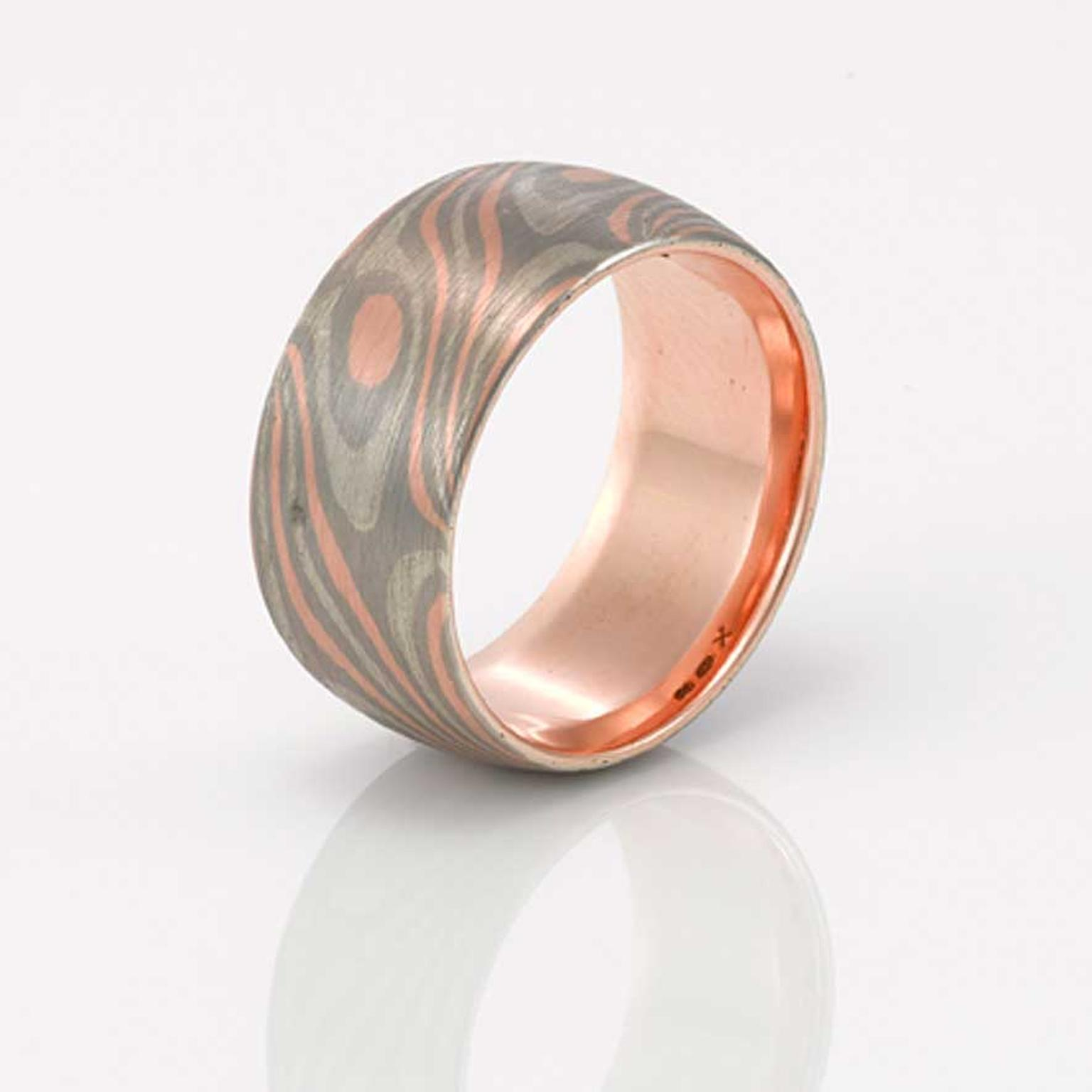 apollo men s wedding ring in rose gold palladium and silver