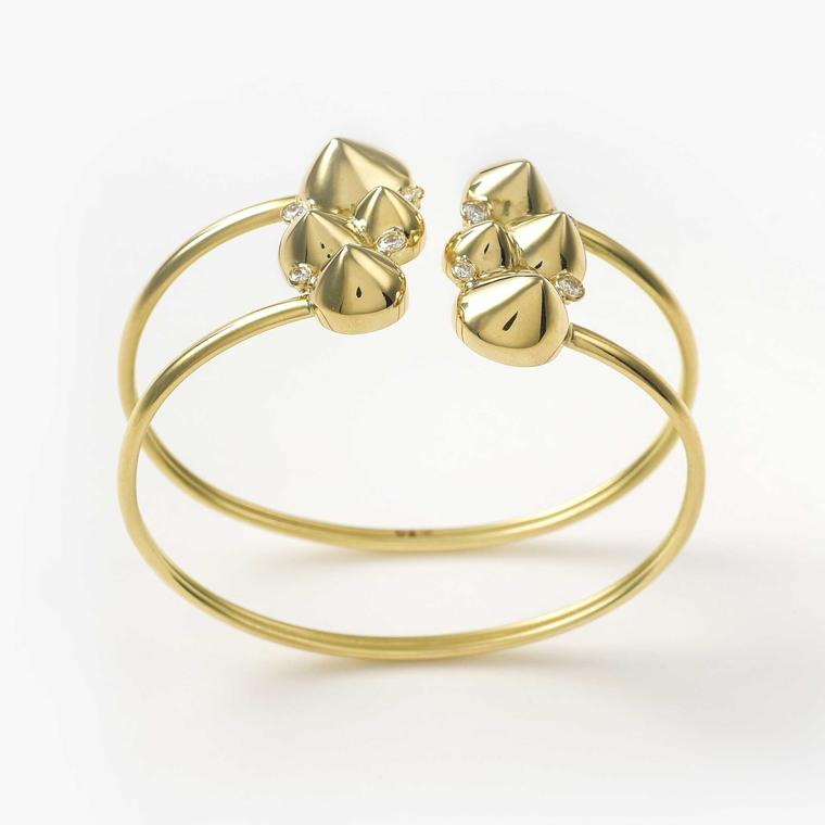 Maria Kotsoni diamond and gold Spike bangle
