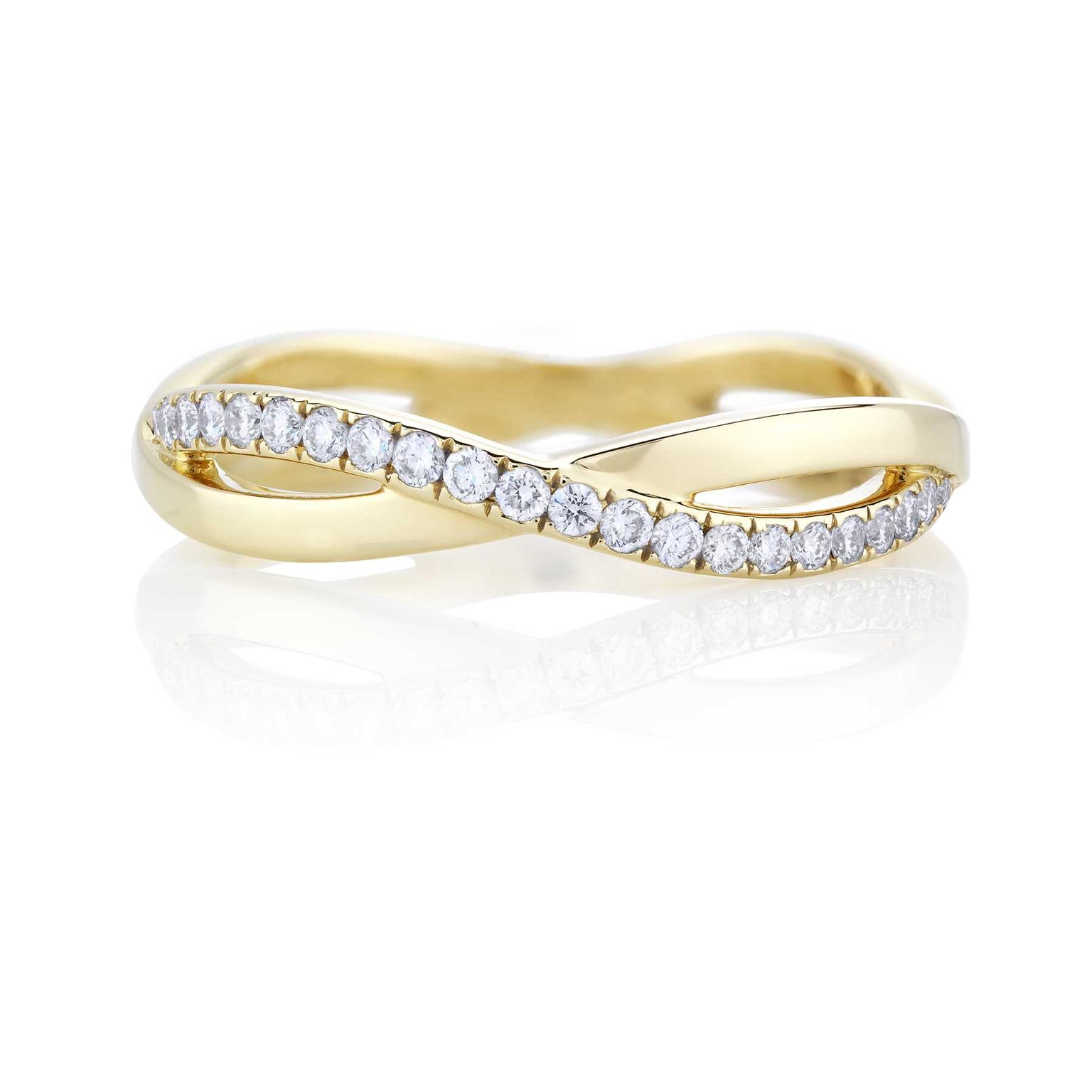 Infinity Yellow Gold And Diamond Wedding Band