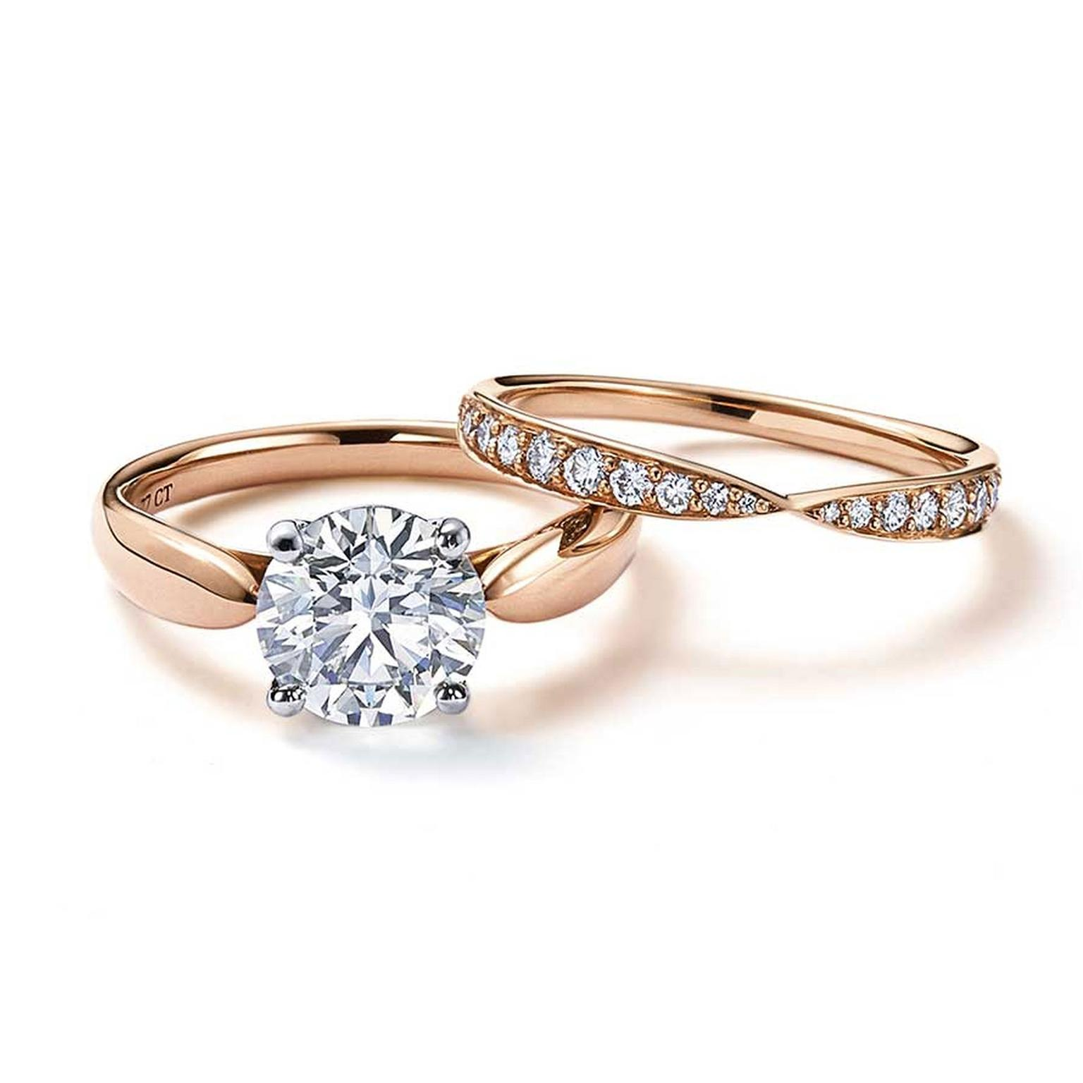 Tiffany Harmony Solitaire Diamond Engagement Ring In Rose Gold With A Matching Wedding