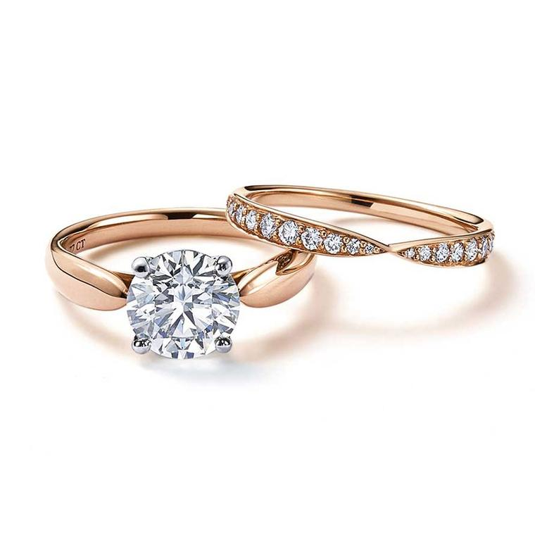 Harmony Rose Gold Engagement Ring With A Central Solitaire Diamond