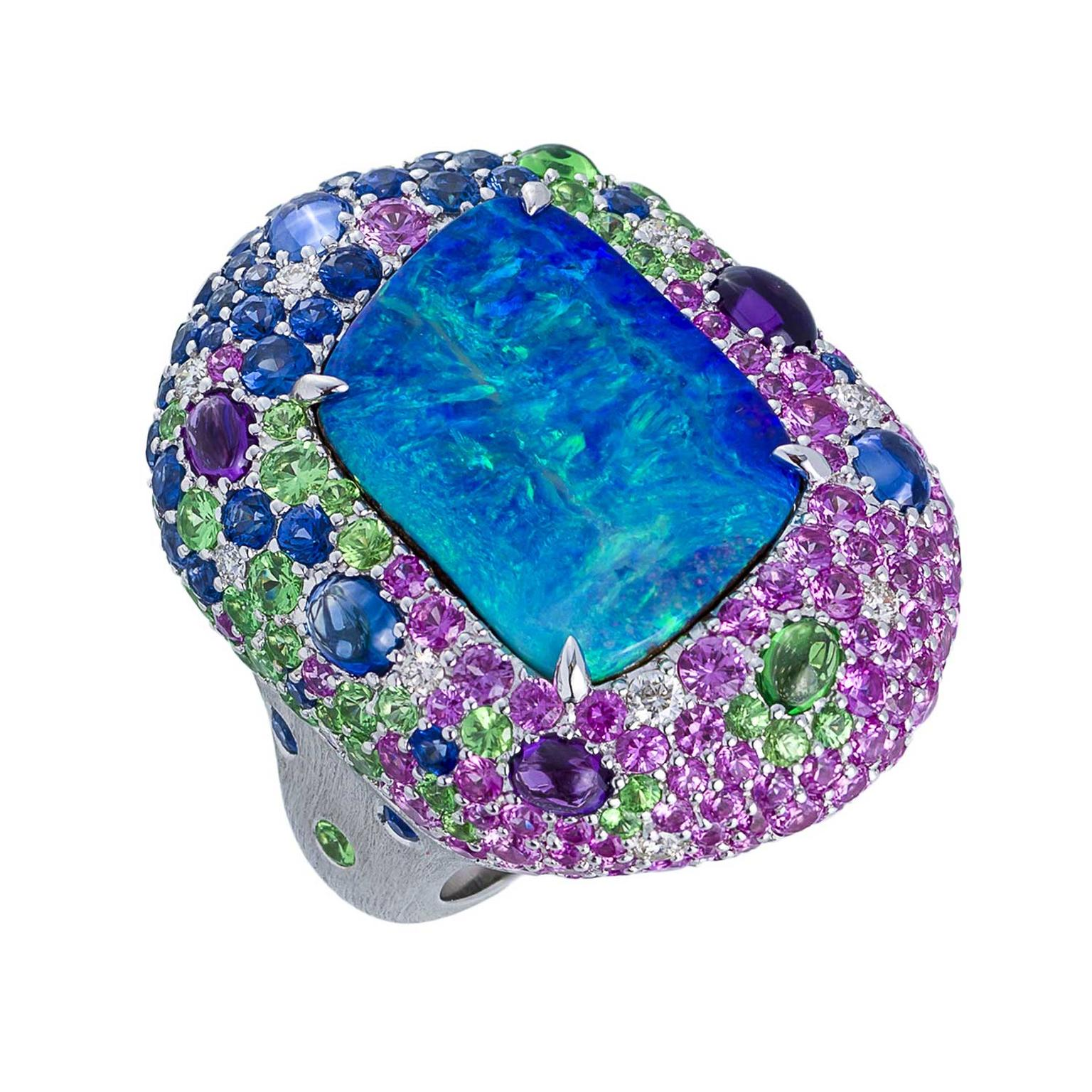Margot McKinney Lightning Ridge opal and multi-coloured gemstone cocktail ring