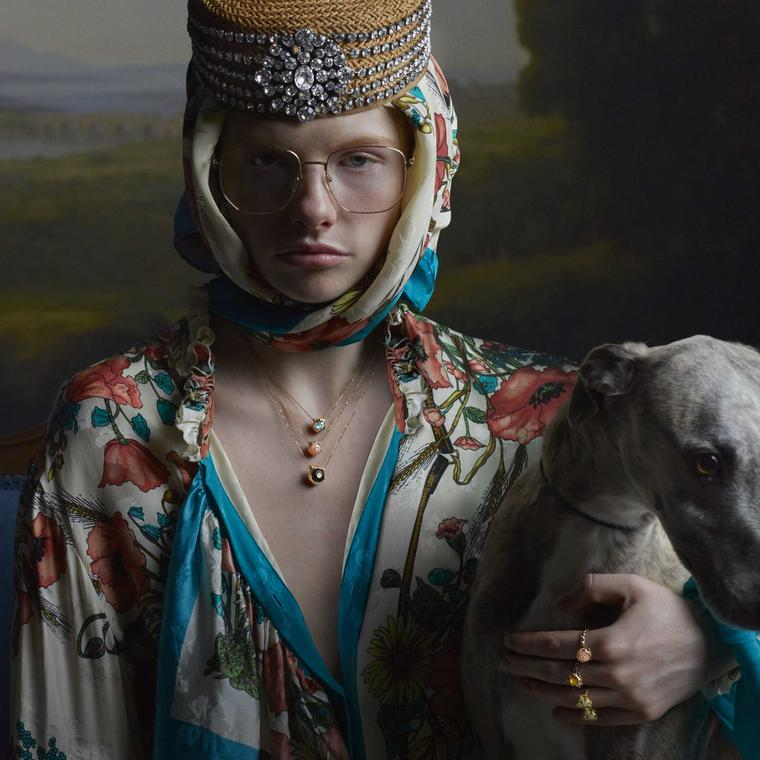 Gucci Le Marche des Merveilles jewels in portrait with greyhound Julia Hetta photography