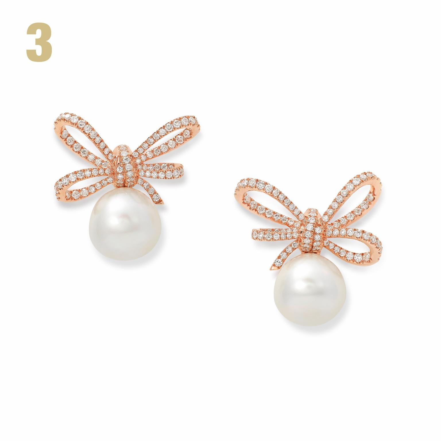 Lyla s Bow earrings in rose gold diamonds and South Sea pearls