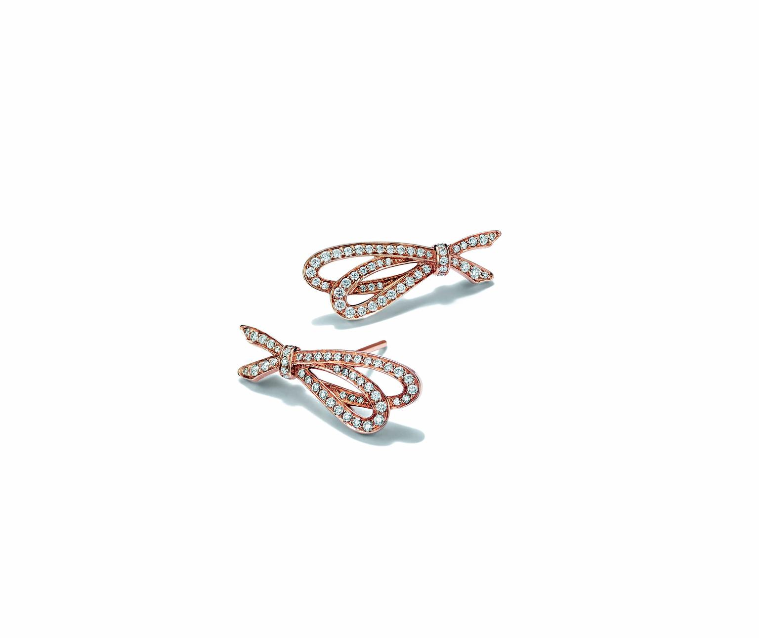 Bow earrings in rose gold with white diamonds