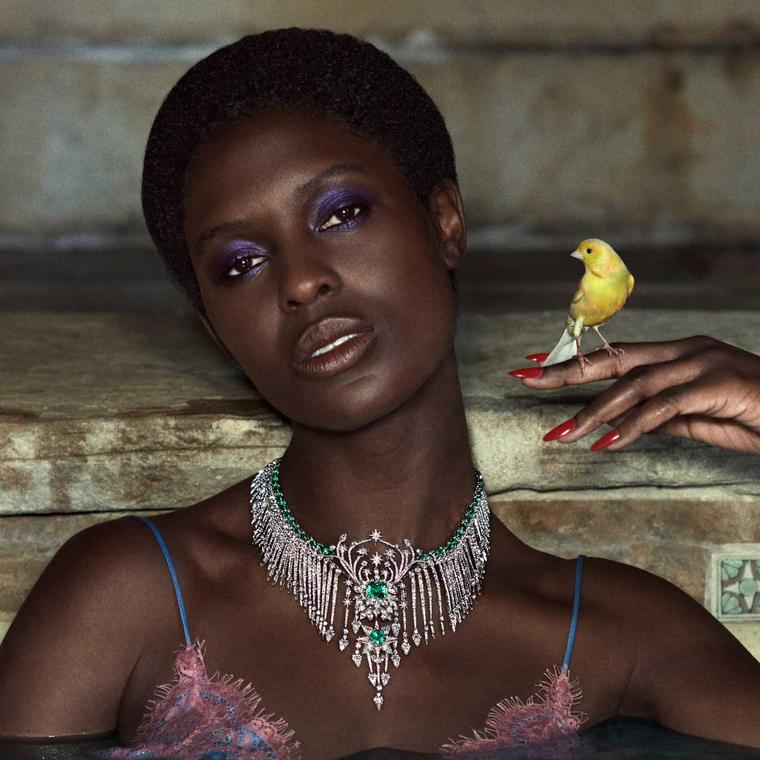 Gucci Hortus Deliciarum diamond and emerald choker