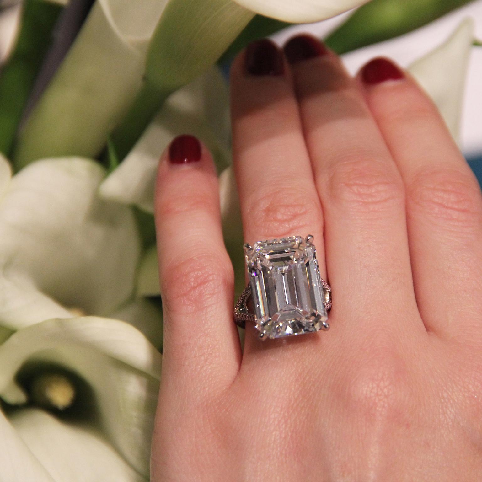 Sotheby S Diamonds 20 47 Carat Emerald Cut Diamond Arris Ring