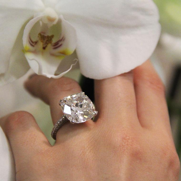 10 73 Carat Cushion Cut Diamond Ring