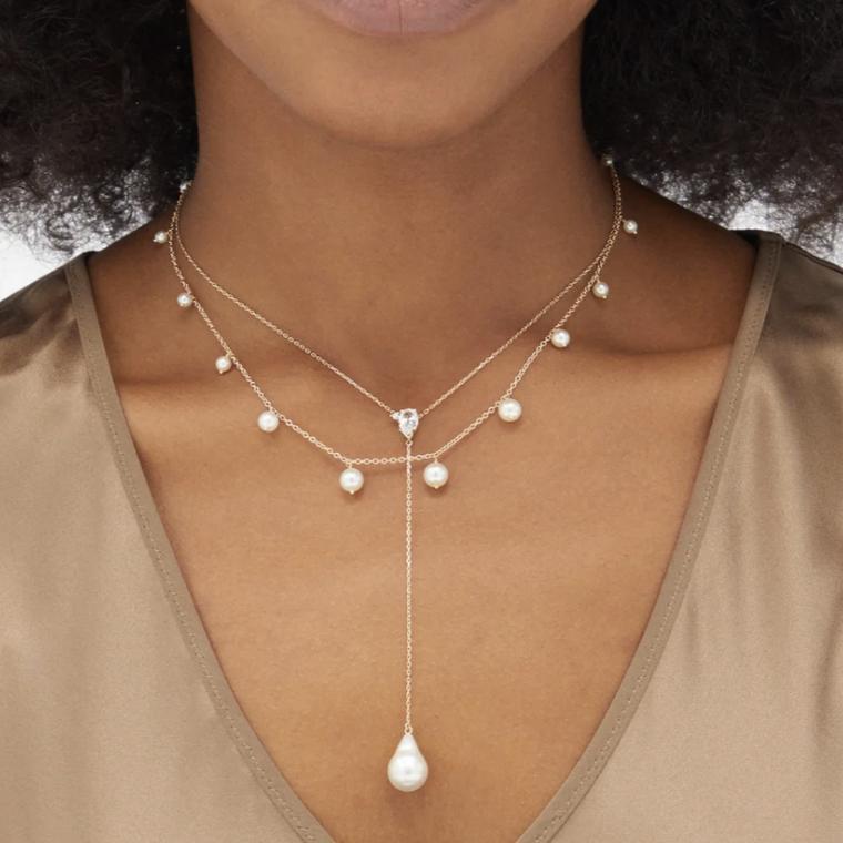 Pearl and topaz necklace by Mizuki