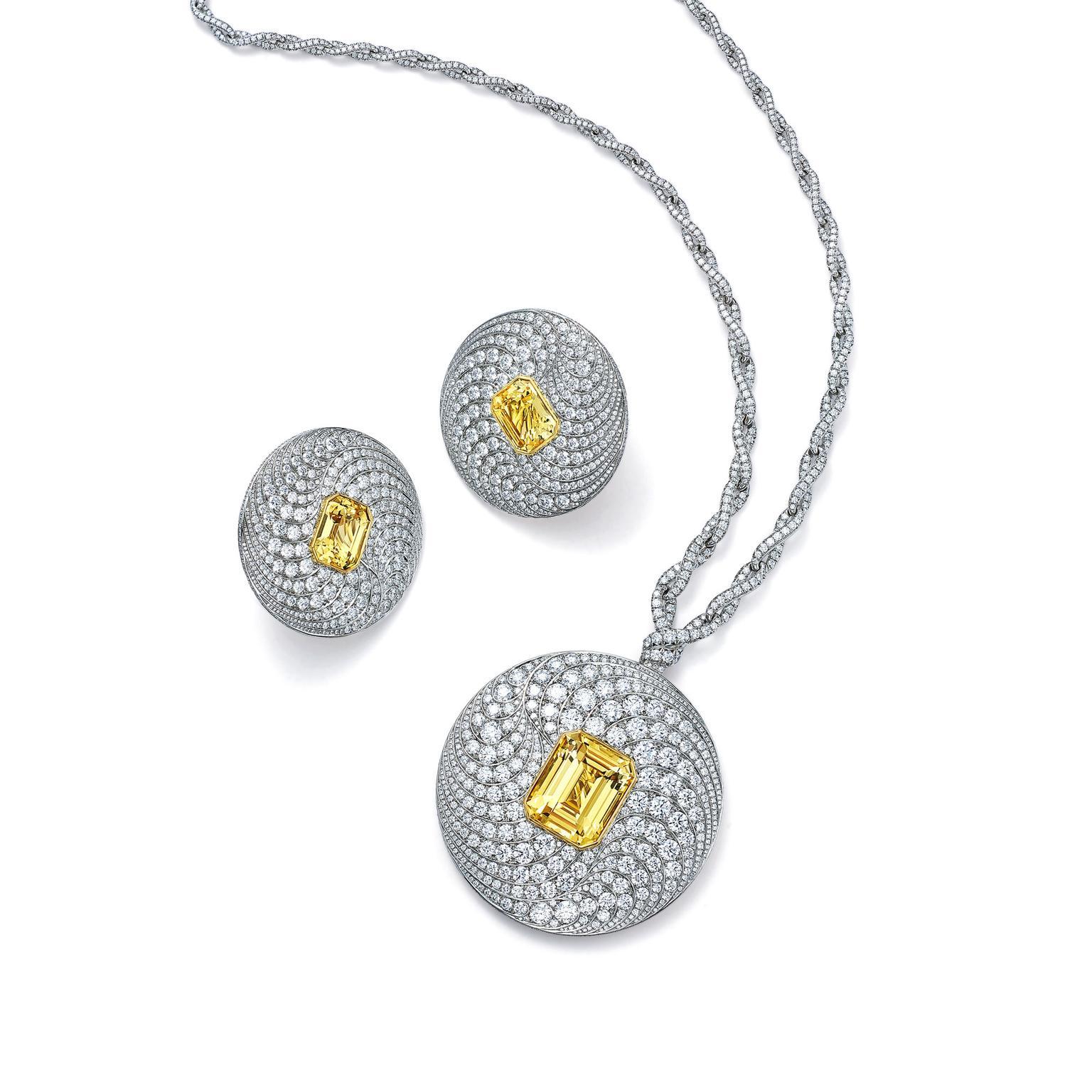 Blue Book yellow diamond cuff and earrings Tiffany & Co