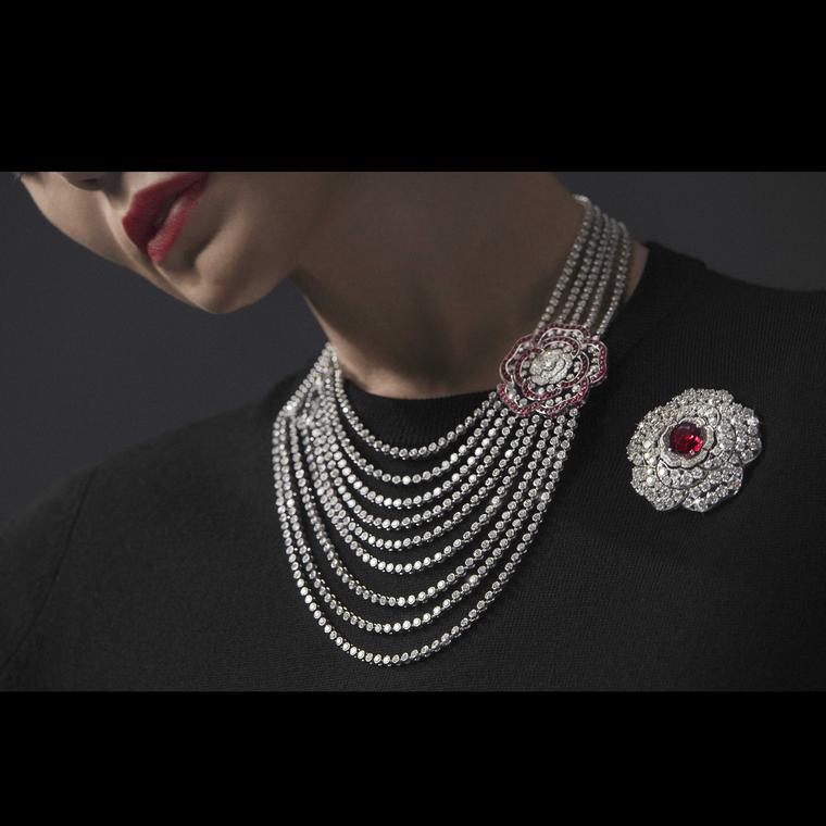 Chanel 1 5 Rouge Incandescente necklace and brooch