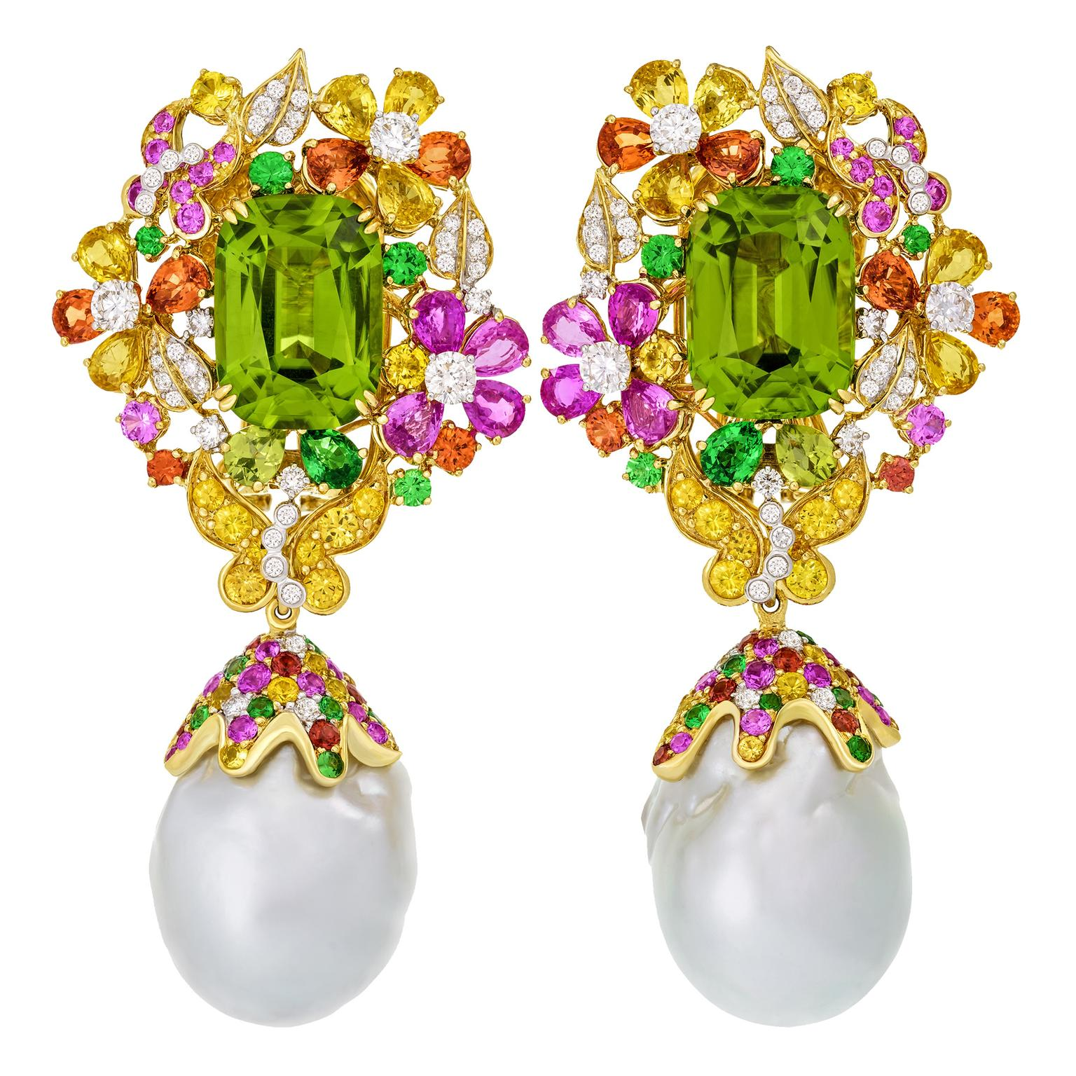 Famous Butterfly Garden peridot and baroque pearl earrings | Margot  HO57