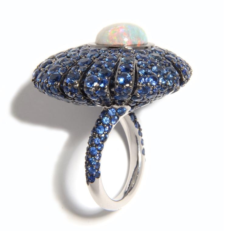 Sea Urchin opal and blue sapphire ring