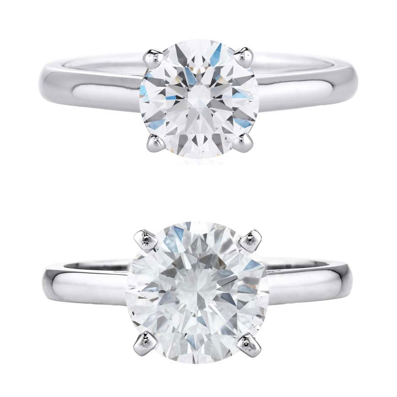 The Visual Difference Between A 1 Carat Diamond Engagement Ring And 2