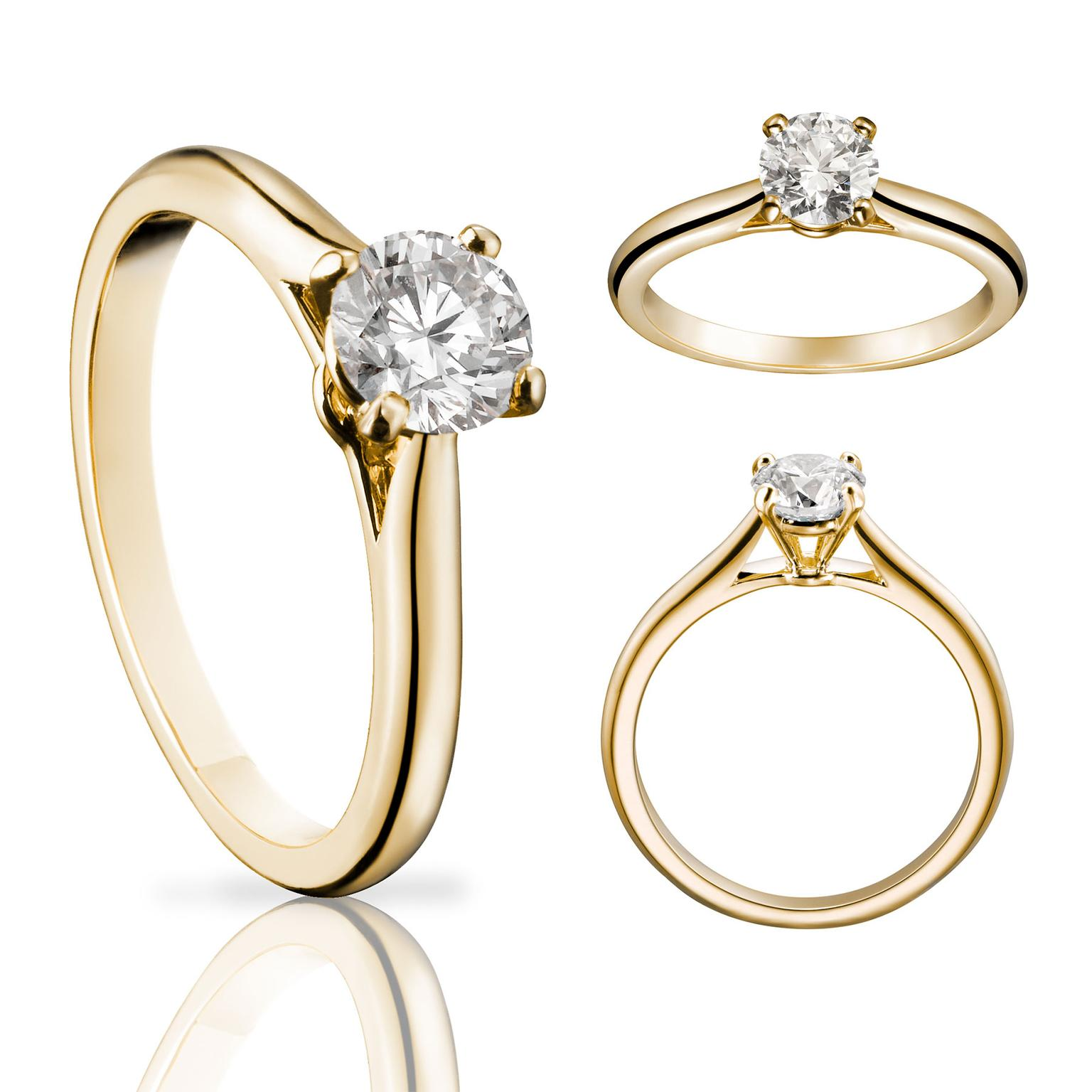 solitaire 1895 diamond ring in yellow gold cartier the