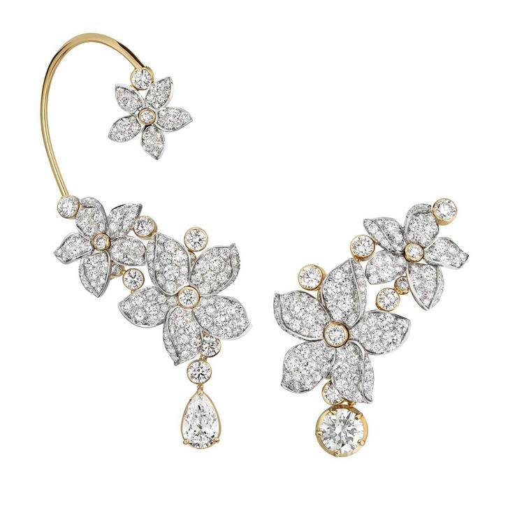 Chanel Collection No 5 GRASSE JASMINE asymmetrical earrings