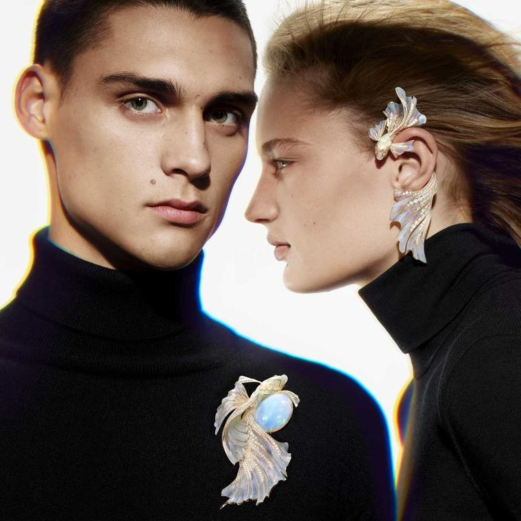 Opalescence earring and brooch Boucheron Holographique High Jewellery