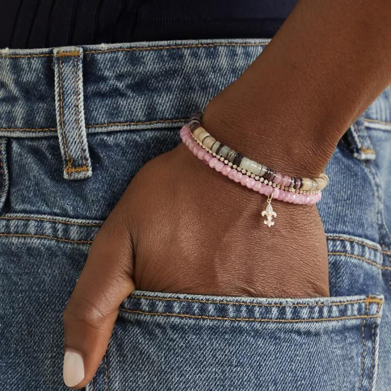 SYDNEY EVAN Small Fleur de Lis 18-karat gold, grapolite and diamond bracelet  £500 on model