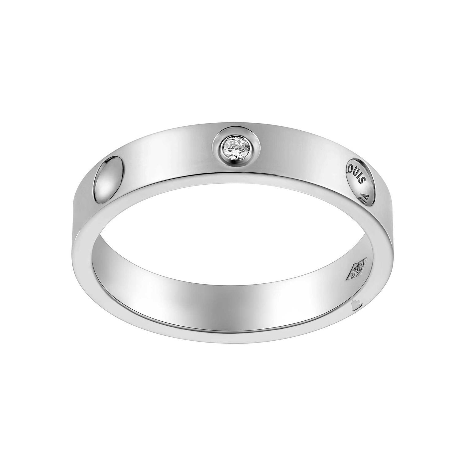 Louis Vuitton Empreinte Alliance Ring In Platinum With Diamonds