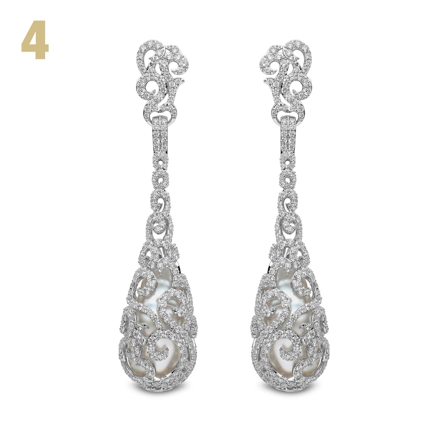 Mayfair baroque South Sea pearl earrings with diamonds
