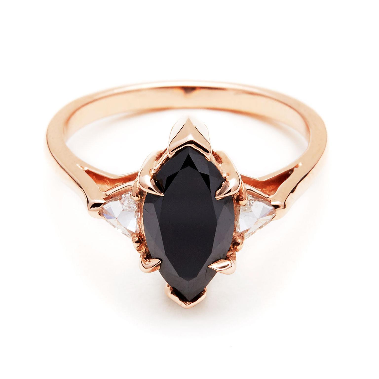 Anna Sheffield Marquise Bea Black Diamond Engagement Ring