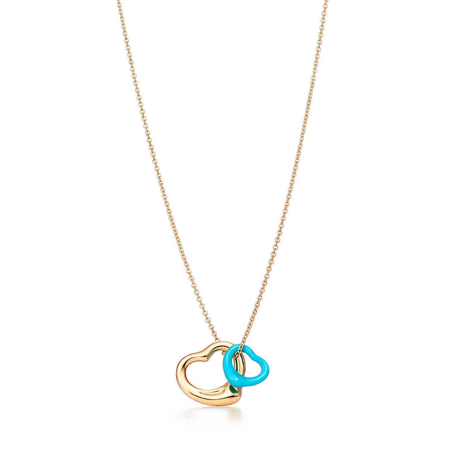 Well-known Elsa Peretti Open Heart gold and turquoise pendant   Tiffany & Co  YH92