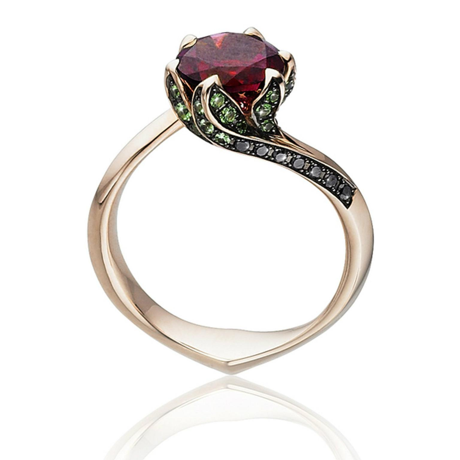 beauty and the beast rubellite ring in rose gold tomasz donocik