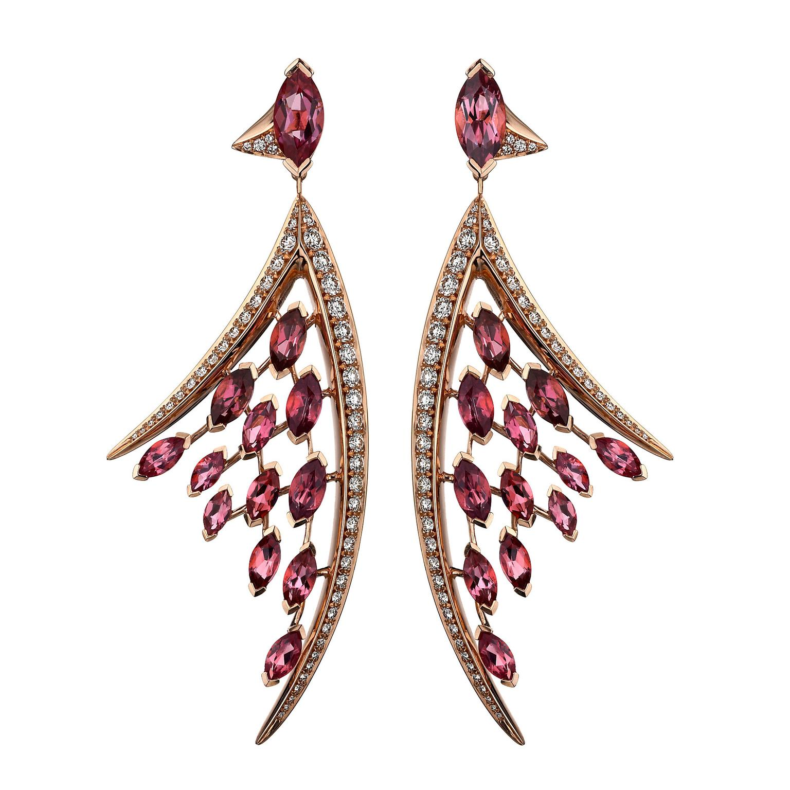 Aerial pink tourmaline and diamond earrings in rose gold | Shaun Leane |  The Jewellery Editor