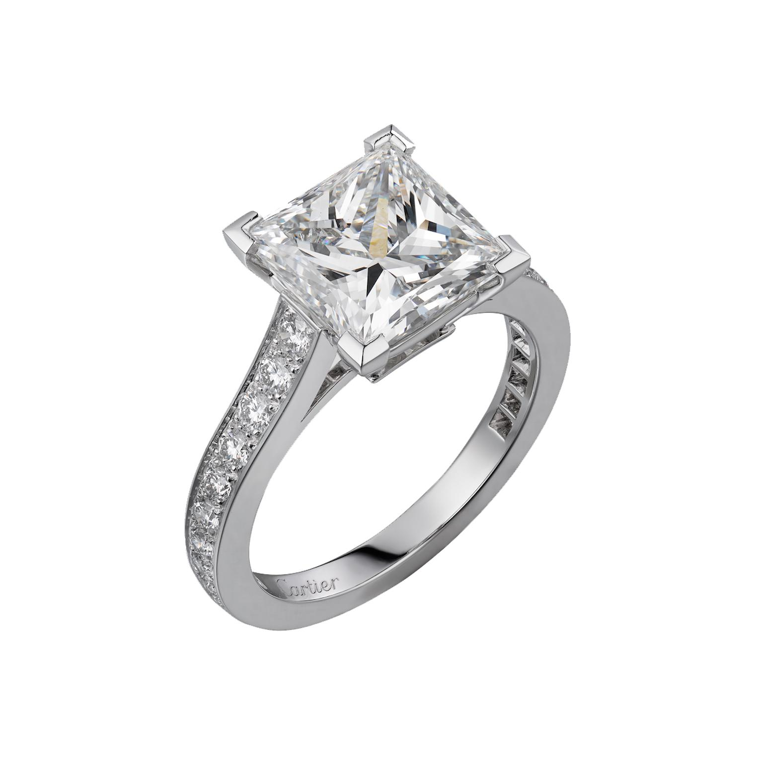 Cartier Solitaire 1895 Square Cut Engagement Ring
