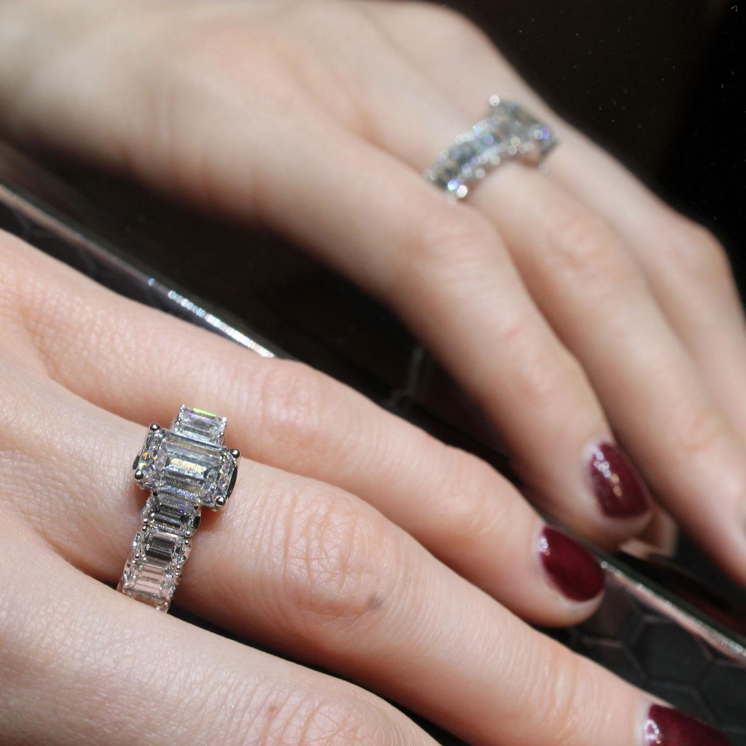 Picchiotti Xpandable Emerald Cut Diamond Engagement Ring