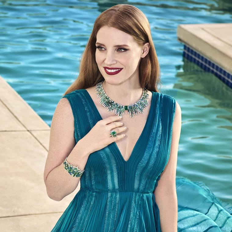 Jessica Chastain in Piaget's Sunlight Journey collection