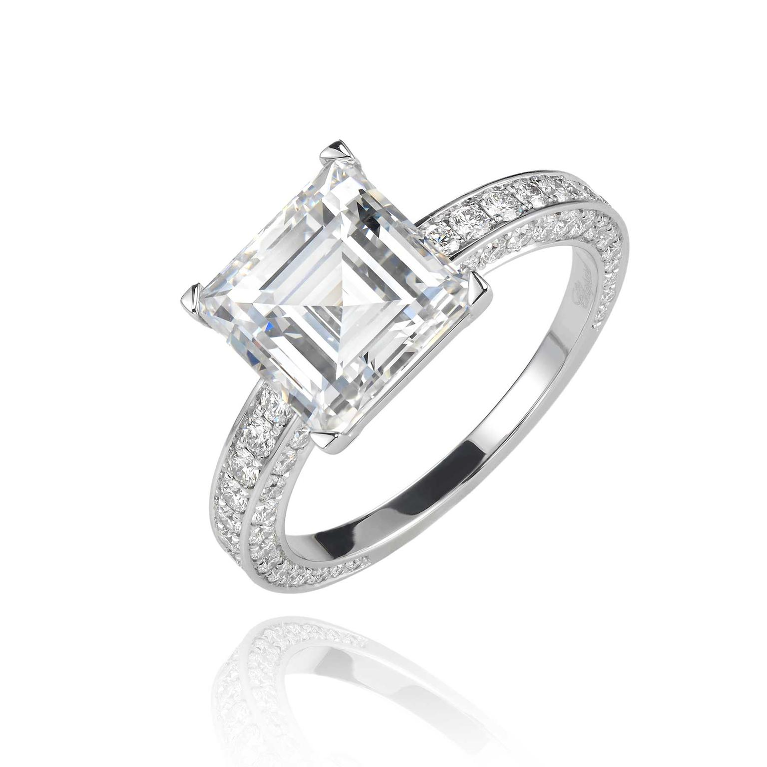Chopard 3 19ct Step Cut Diamond Engagement Ring