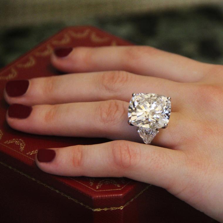 20.30-carat cushion-cut diamond ring
