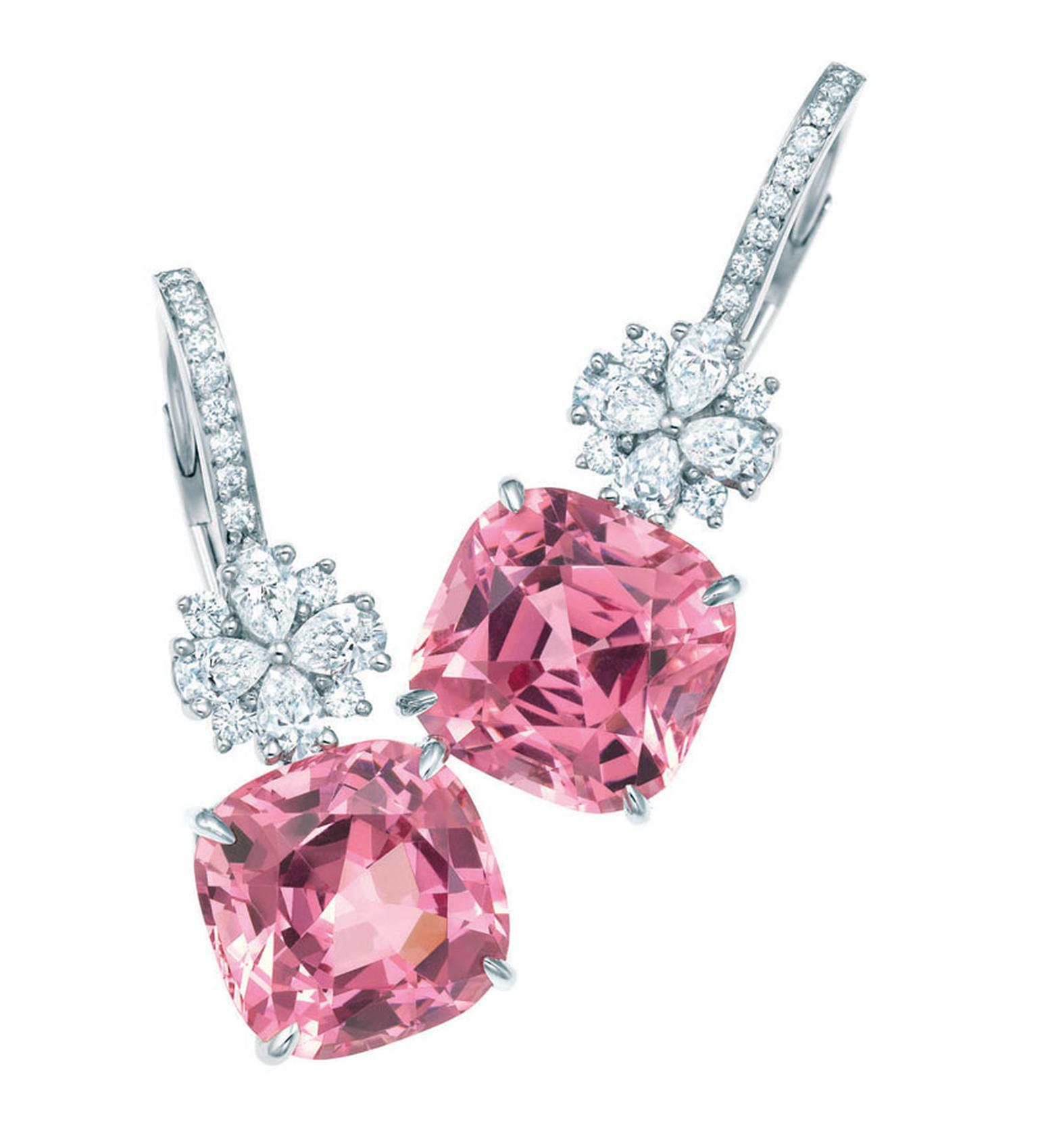 Pink spinel and diamond earrings in platinum