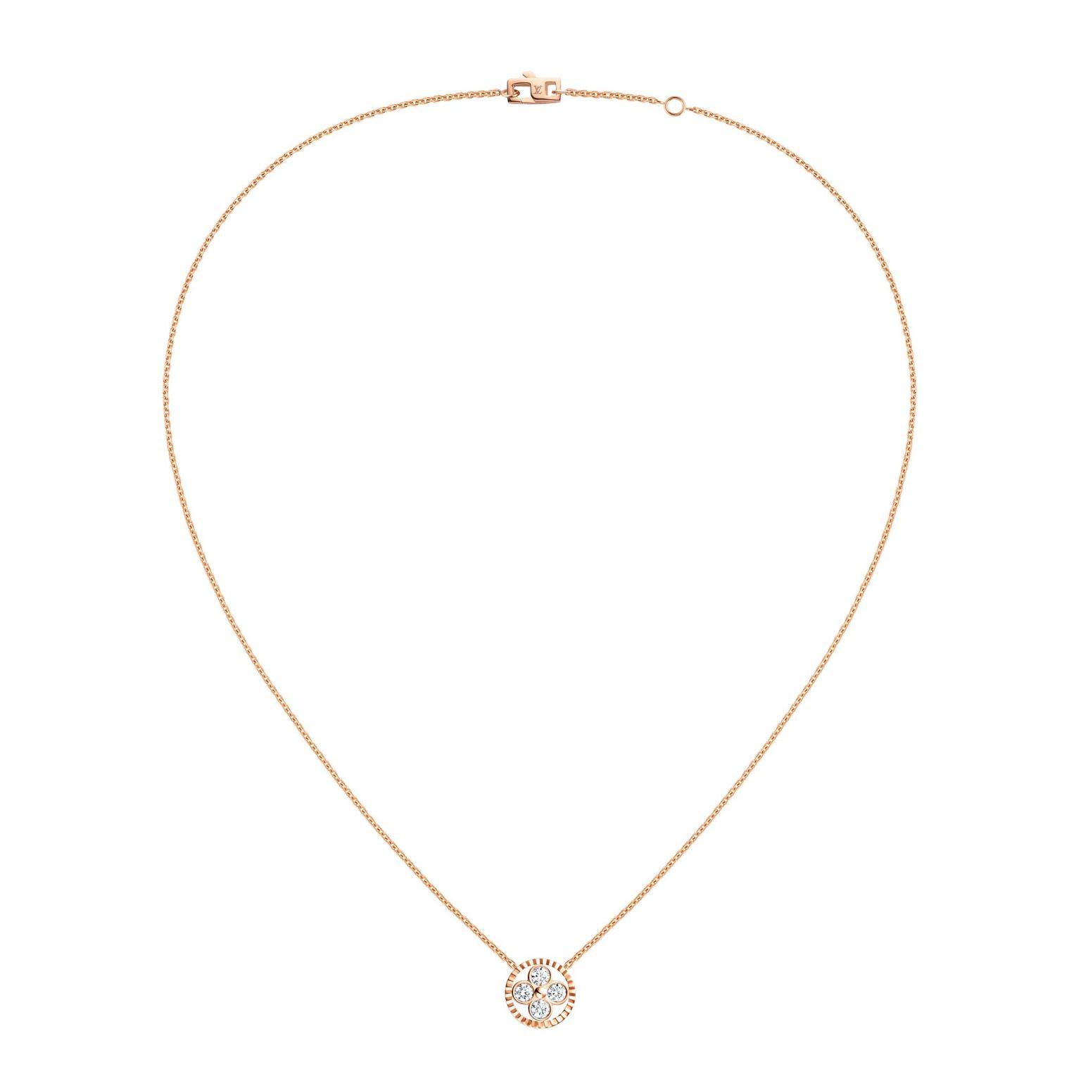 Monogram Sun diamond pendant necklace in rose gold with diamonds