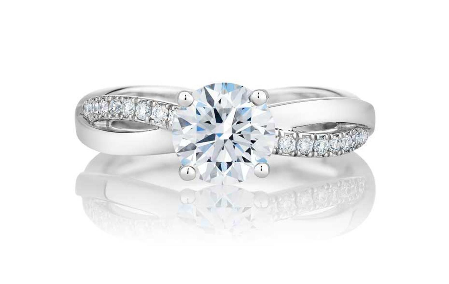 The Infinity Latest De Beers Engagement Ring Feature A Gently Curved Figure