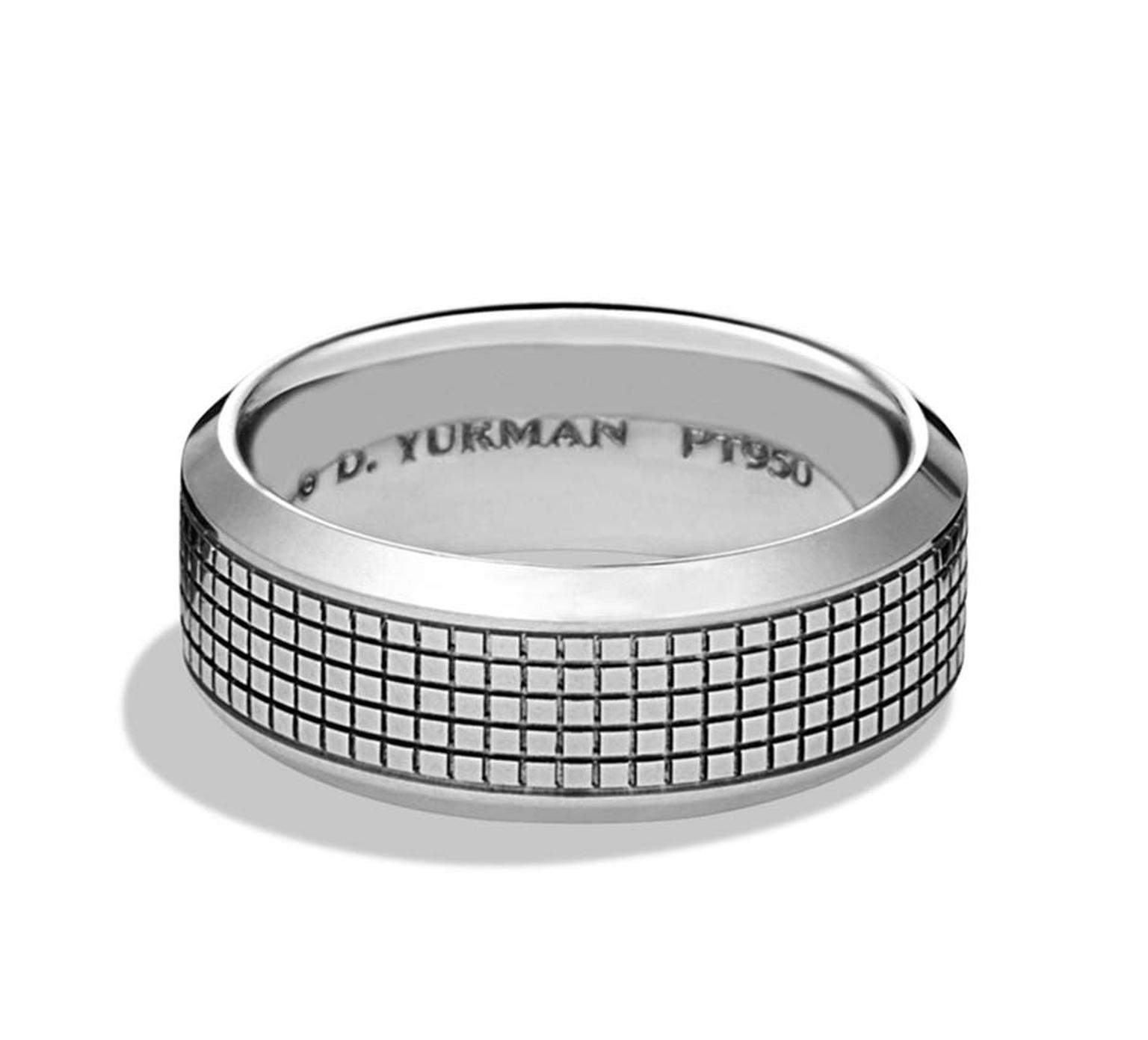 This Contemporary Platinum Wedding Band By David Yurman Is From The Waves Collection