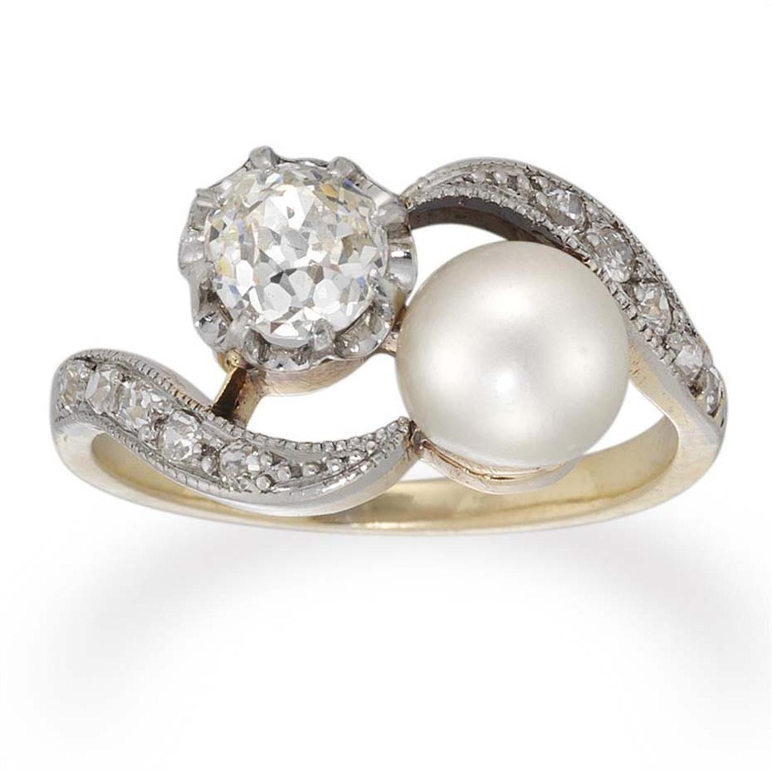 A Beautiful Edwardian Pearl And Diamond Crossover Ring Circa 1910 Available At Bentley Skinner