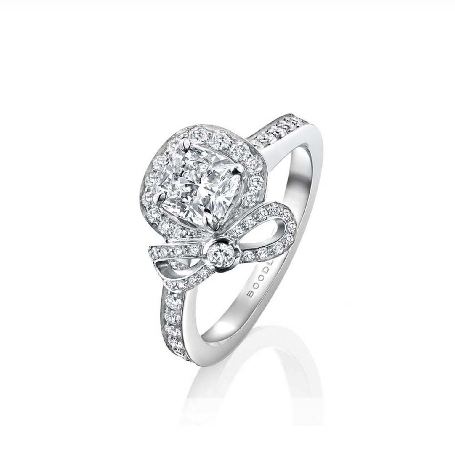 Boodles Vintage Rosette cushion cut diamond engagement ring